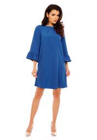 Niebieska sukienka Nommo z falbankami, trapezowa, elegancka