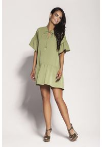 Zielona sukienka z falbanami Dursi na lato, z falbankami