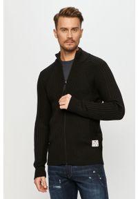 Czarny sweter rozpinany G-Star RAW z aplikacjami, casualowy, na co dzień