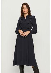Niebieska sukienka Sportmax Code prosta, z długim rękawem, casualowa, midi