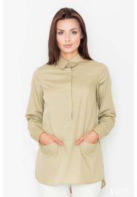 Figl - Oliwkowa Koszula z Krótkim Zapięciem na Zatrzaski. Kolor: oliwkowy. Materiał: bawełna, poliester. Długość: krótkie