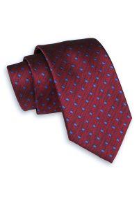 Bordowy Elegancki Klasyczny Krawat -Angelo di Monti- 7 cm, Męski, Szeroki, w Niebieskie Kwadraciki. Kolor: niebieski, czerwony, wielokolorowy. Wzór: geometria. Styl: klasyczny, elegancki