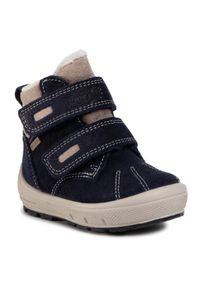 Niebieskie buty zimowe Superfit z cholewką za kostkę, z cholewką