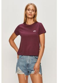Fioletowa bluzka Vans na co dzień, z okrągłym kołnierzem, casualowa