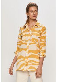 Żółta koszula Vila z długim rękawem, długa, na co dzień, klasyczna