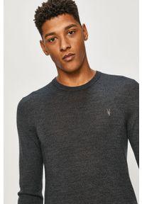 Szary sweter AllSaints długi, casualowy, na co dzień