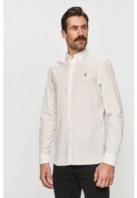 Biała koszula AllSaints długa, elegancka, z aplikacjami