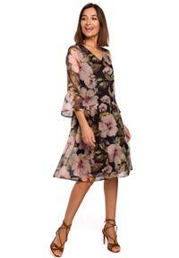 e-margeritka - Sukienka szyfonowa w kwiaty czarna - m. Kolor: czarny. Materiał: szyfon. Wzór: kwiaty. Sezon: lato, wiosna. Długość: midi