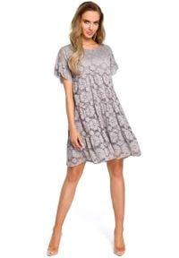 MOE - Szara Zwiewna Sukienka Koronkowa z Mini Rękawkiem. Kolor: szary. Materiał: koronka. Długość rękawa: krótki rękaw. Długość: mini