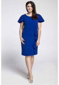 Niebieska sukienka wizytowa Nommo plus size, dla puszystych, elegancka