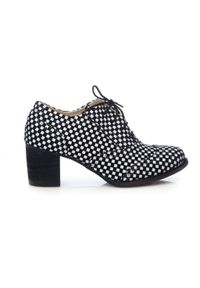 Zapato - sznurowane półbuty na 6 cm słupku - skóra naturalna - model 251 - kolor czarna szachownica. Kolor: czarny. Materiał: skóra. Obcas: na słupku