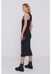 Hugo - Sukienka. Kolor: czarny. Materiał: dzianina. Wzór: gładki. Typ sukienki: dopasowane