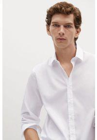 Biała koszula Mango Man na co dzień, klasyczna, z długim rękawem, z klasycznym kołnierzykiem
