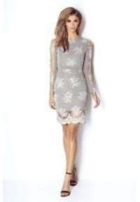 Szara sukienka IVON ołówkowa, wizytowa
