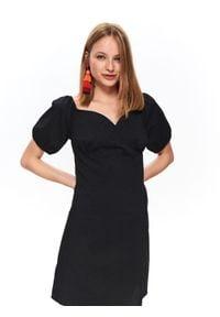 TOP SECRET - Dopasowana sukienka z bufiastymi rękawami. Kolor: czarny. Sezon: jesień. Typ sukienki: koszulowe. Styl: elegancki, wakacyjny. Długość: mini