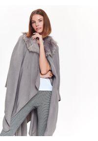 Szary sweter TOP SECRET długi, elegancki, na zimę, w kolorowe wzory