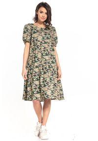 Tessita - Sukienka Midi z Falbanką we Wzory - Ciemne Moro. Materiał: bawełna. Wzór: moro. Długość: midi