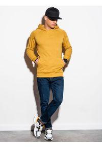 Ombre Clothing - Bluza męska z kapturem B1085 - żółta - XXL. Typ kołnierza: kaptur. Kolor: żółty. Materiał: bawełna, poliester