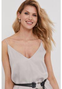 Srebrna sukienka Answear Lab wakacyjna, na ramiączkach, gładkie