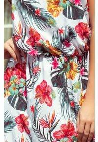Numoco - Długa zwiewna SUKIENKA MAXI w kwiaty z rozcięciem. Okazja: na imprezę. Materiał: materiał. Wzór: kwiaty. Sezon: lato. Długość: maxi #4