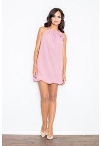 Figl - Różowa Mini Sukienka Tunika Bombka z Kwiatem. Kolor: różowy. Materiał: poliester. Wzór: kwiaty. Typ sukienki: bombki. Długość: mini