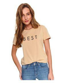Beżowy t-shirt TOP SECRET z aplikacjami
