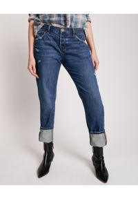 ONETEASPOON - Niebieskie jeansy Awesome Baggies Low Waist. Stan: obniżony. Kolor: niebieski. Materiał: jeans. Wzór: aplikacja