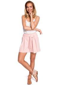 e-margeritka - Szorty z podwyższonym stanem różowe - xl. Stan: podwyższony. Kolor: różowy. Materiał: tkanina, elastan, poliester, wiskoza, materiał. Styl: elegancki