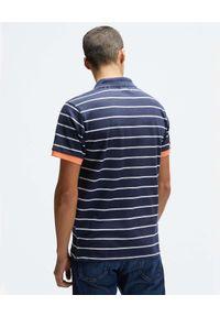 North Sails - NORTH SAILS - Granatowa koszulka polo w paski. Typ kołnierza: polo. Kolor: niebieski. Materiał: bawełna. Wzór: paski