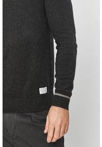 Szary sweter Pepe Jeans z golfem, casualowy, na co dzień, z długim rękawem