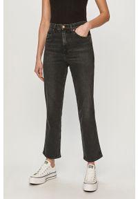 Czarne proste jeansy Wrangler z podwyższonym stanem