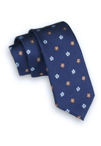 Alties - Granatowy Klasyczny Męski Krawat -ALTIES- 6cm, w Niebiesko-Beżowe Kwiatki. Kolor: niebieski, beżowy, brązowy, wielokolorowy. Materiał: tkanina. Wzór: kwiaty. Styl: klasyczny