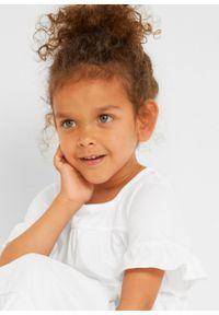 Sukienka dziewczęca z dżerseju z bawełny organicznej bonprix biały. Kolor: biały. Materiał: jersey, bawełna