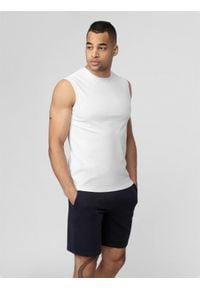 4f - Koszulka bez rękawów męska. Kolor: biały. Materiał: dzianina, bawełna. Długość rękawa: bez rękawów