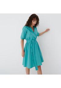 Mohito - Rozkloszowana sukienka - Turkusowy. Kolor: turkusowy