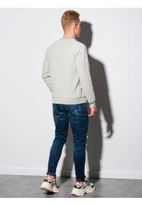 Ombre Clothing - Bluza męska bez kaptura B1156 - jasnoszara - XXL. Typ kołnierza: bez kaptura. Kolor: szary. Materiał: dresówka, poliester, dzianina, bawełna, jeans