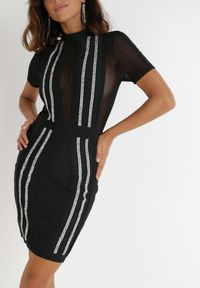 Born2be - Czarna Sukienka Maritune. Kolor: czarny. Materiał: tiul, dzianina. Wzór: aplikacja. Długość: mini