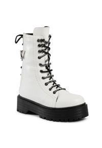 Białe buty trekkingowe Sergio Bardi z aplikacjami, z cholewką