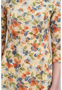 Marie Zélie - Sukienka Asteria Alia brzoskwiniowa. Kolor: pomarańczowy. Materiał: bawełna, materiał, elastan. Wzór: gładki. Typ sukienki: trapezowe. Styl: klasyczny