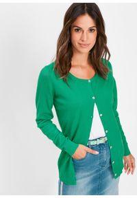 Sweter rozpinany bonprix zieleń trawy. Kolor: zielony. Styl: elegancki