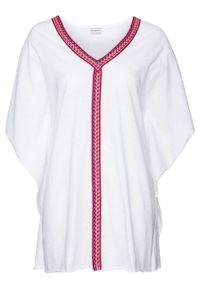 Biała bluzka bonprix długa, z dekoltem w serek