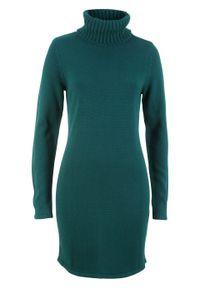 Zielona sukienka bonprix z golfem, z długim rękawem