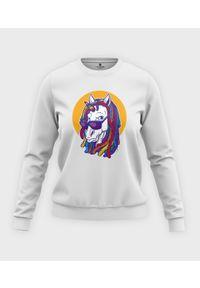 MegaKoszulki - Bluza klasyczna damska Rainbow Unicorn. Materiał: bawełna. Długość: długie. Wzór: nadruk. Styl: klasyczny