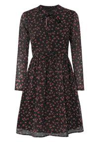 Sukienka z krawatką bonprix czarny w kwiaty. Kolor: czarny. Wzór: kwiaty