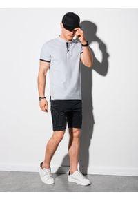 Ombre Clothing - Koszulka męska polo bawełniana S1381 - jasnoszara - XXL. Typ kołnierza: polo. Kolor: szary. Materiał: bawełna