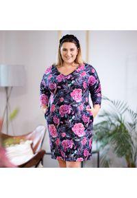 Sukienka dla puszystych Moda Size Plus Iwanek na jesień, z dekoltem w kształcie v, z nadrukiem