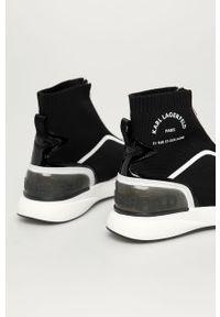 Czarne buty sportowe Karl Lagerfeld na średnim obcasie, na obcasie, z cholewką