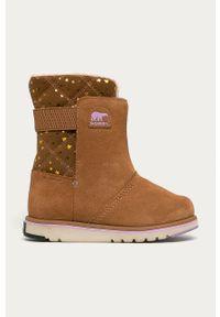 Złote buty zimowe sorel na zimę, z cholewką