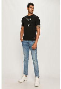 Czarny t-shirt Armani Exchange z okrągłym kołnierzem, na co dzień, casualowy, z nadrukiem