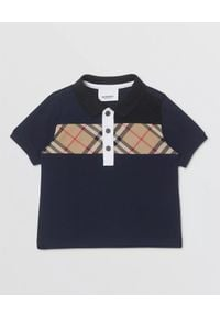 BURBERRY CHILDREN - Granatowa koszulka polo 0-2 lat. Okazja: na co dzień. Typ kołnierza: polo. Kolor: niebieski. Materiał: bawełna. Długość: długie. Wzór: aplikacja. Sezon: lato. Styl: klasyczny, casual